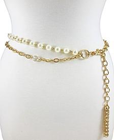 Accessories 2 Row Pearl & Stone Chain