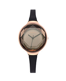RumbaTime Orchard Gem Black Diamond Silicone Women's Watch