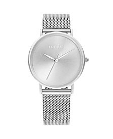 RumbaTime Lafayette Sunray Silver Mesh Women's Watch