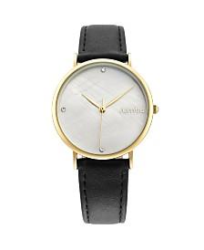 RumbaTime Lafayette Black Leather Gold Women's Watch