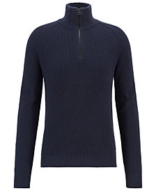 BOSS Men's Half-Zip Cotton Sweater