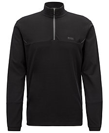 BOSS Men's Slim Fit Half-Zip Cotton Shirt