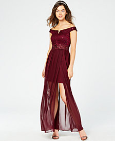 BCX Juniors' Sparkle Lace Off-The-Shoulder Gown