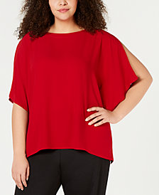 Eileen Fisher Plus Size Silk Boat-Neck Top