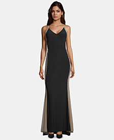 XSCAPE Beaded Colorblocked Gown
