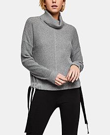 BCBGeneration Cotton Drawstring Turtleneck Sweater