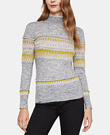 BCBGMAXAZRIA Mixed Intarsia Turtleneck Sweater