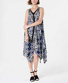 Style & Co Printed Handkerchief-Hem Dress, Created for Macy's