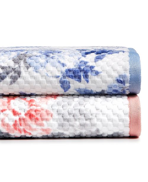 Martha Stewart Collection CLOSEOUT! Texture Bouquet Bath Towel Collection, Created for Macy's