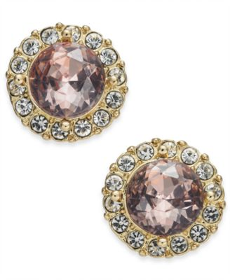 Gold-Tone Crystal Halo Button Earrings, Created for Macy's