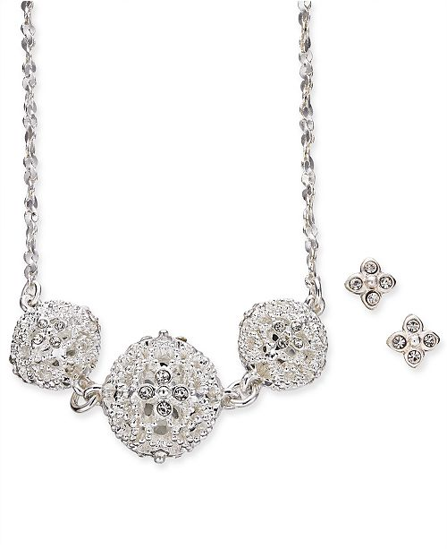 """Charter Club Silver-Tone Crystal Filigree Ball Statement Necklace & Stud Earrings Set, 17"""" + 2"""" extender, Created for Macy's"""