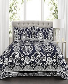 Rosetta Floral 3-Pc Set Full/Queen Quilt Set