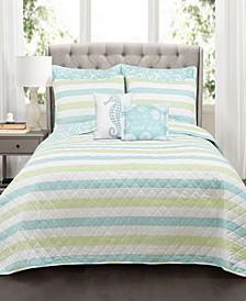 Sealife Stripe 7-Pc Set Full/Queen Quilt Set