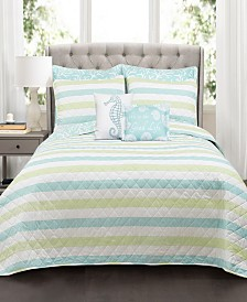 Sealife Stripe 7-Pc. Quilt Sets