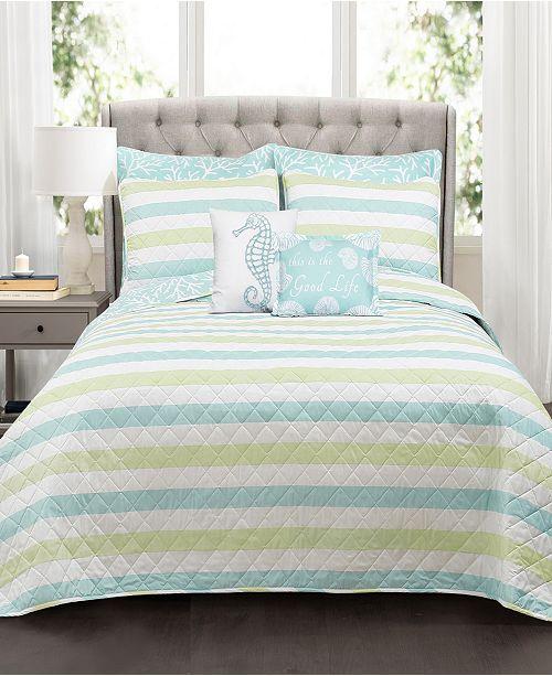 Lush Decor Sealife Stripe 7-Pc Set Full/Queen Quilt Set