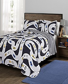 Car Tracks 3-Pc Set Full/Queen Quilt Set