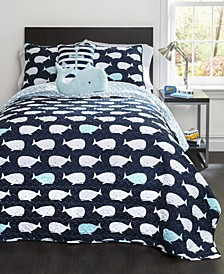 Whale 5-Pc Set Full/Queen Quilt Set