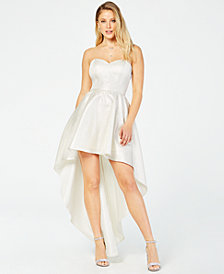 Crystal Doll Juniors' Metallic Strapless High-Low Gown