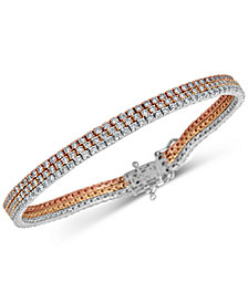 Diamond Triple Row Link Bracelet (5 ct. t.w.) in 14k Gold, White Gold & Rose Gold