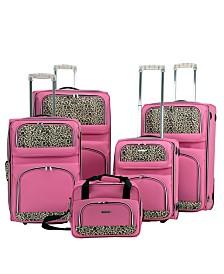 Rockland 5PCE Pink Leopard SoftsideLuggage Set
