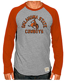 Retro Brand Men's Oklahoma State Cowboys Color Blocked Long Sleeve Raglan T-Shirt