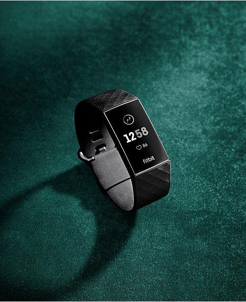 Charge 3 Unisex Black Elastomer Band Touchscreen Smart Watch 22 7mm
