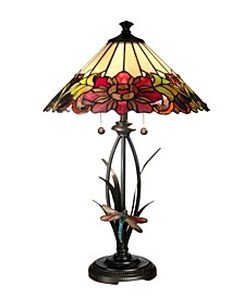 Floral With Dragonfly Tiffany Table Lamp