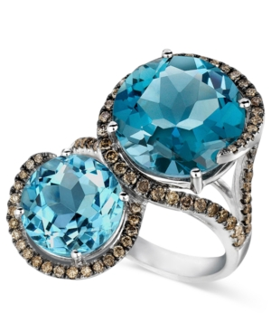 Le Vian Blue Topaz (8-3/8 ct. t.w.) and Chocolate Diamond (5/8 ct. t.w.) 2 Stone Ring in 14k White Gold