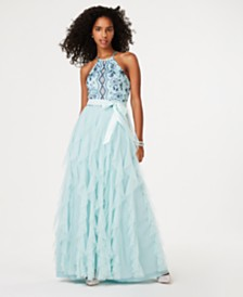 Teeze Me Juniors' Embroidered-Top Layered-Skirt Gown, Created for Macy's