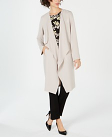 Nine West Duster Jacket, Printed V-Neck Shell & Pull-On Pants