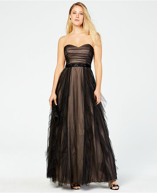 Teeze Me Juniors' Strapless Mesh-Layered Gown
