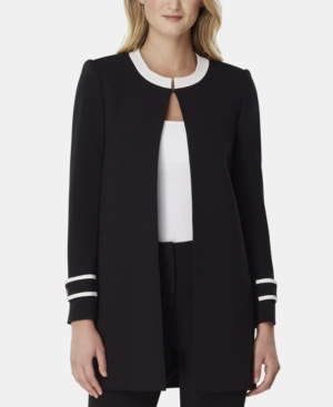 Tahari Asl Jackets CONTRAST-TRIM TOPPER JACKET