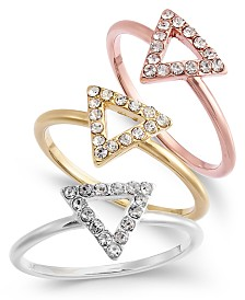 I.N.C. Tri-Tone 3-Pc. Set Pavé Triangle Rings, Created for Macy's