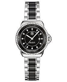 TAG Heuer Women's Swiss Formula 1 Diamond (1/3 ct. t.w.) Stainless Steel and Black Ceramic Bracelet Watch 32mm WAH1312.BA0867