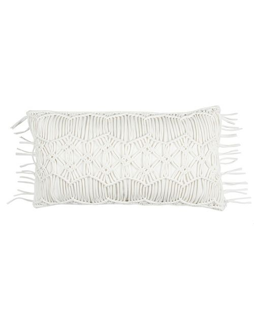 """Rizzy Home Donny Osmond 14"""" x 26"""" Macrame Pillow Cover"""