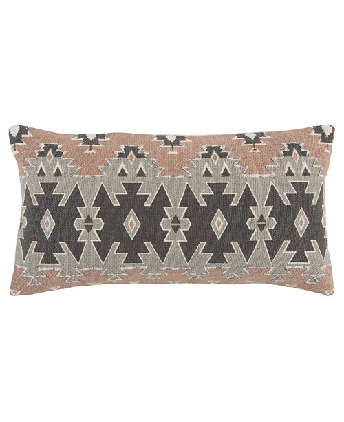 """Rizzy Home 11"""" x 21"""" Geometrical Design Pillow Cover"""