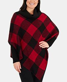 NY Collection Buffalo-Check Poncho Sweater