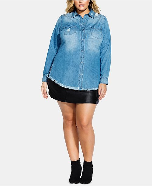 City Chic Trendy Plus Size Cotton Distressed Denim Shirt