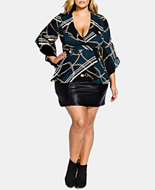 City Chic Trendy Plus Size Chain-Print Faux-Wrap Top