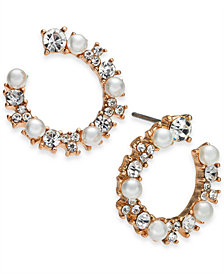 I.N.C. Rose-Gold Tone Crystal & Imitation Pearl Bypass Hoop Earrings, Created for Macy's