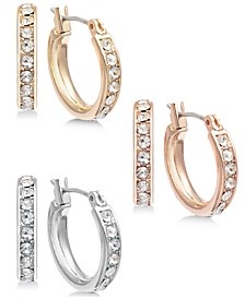 INC Tri-Tone Metal 3-Pc. Small Hoop Earrings   Set, Created for Macy's