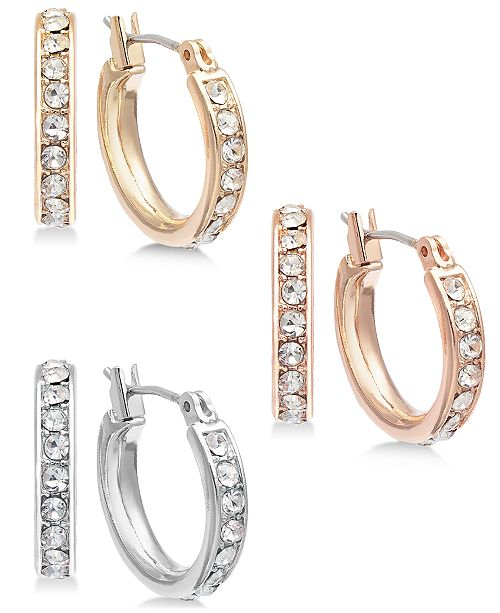 INC International Concepts INC Tri-Tone Metal 3-Pc. Small Hoop Earrings   Set, Created for Macy's