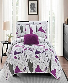 New York 5 Piece Full Quilt Set
