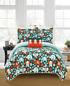 Elephant Marsh 4 Piece Full Quilt Set
