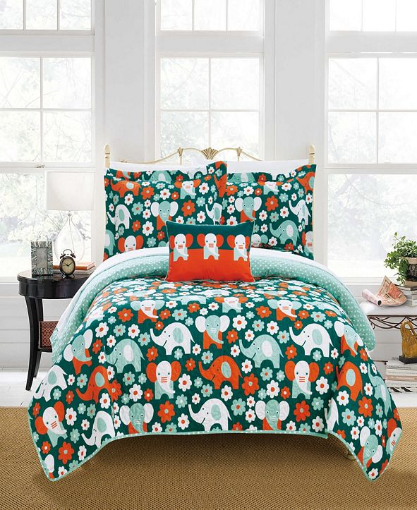 Chic Home Elephant Marsh 4 Piece Full Quilt Set