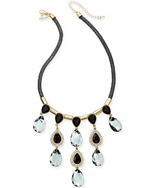 "Thalia Sodi Tri-Tone Crystal & Stone Mesh Statement Necklace, 17"" + 2"" extender, Created for Macy's"