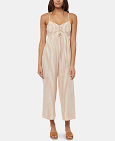 O'Neill Juniors' Anabella Striped Cropped Jumpsuit