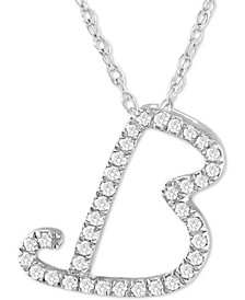"Diamond Initial Pendant Necklace (1/10 ct. t.w.) in Sterling Silver, 16"" + 2"" Extender"