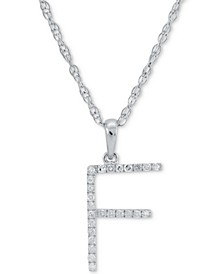 """Diamond (1/10 ct. t.w.) Initial Pendant Necklace in 10k White Gold, 16"""" + 2"""" extender"""