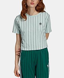 adidas Originals Stripe Out Cotton Cropped T-Shirt